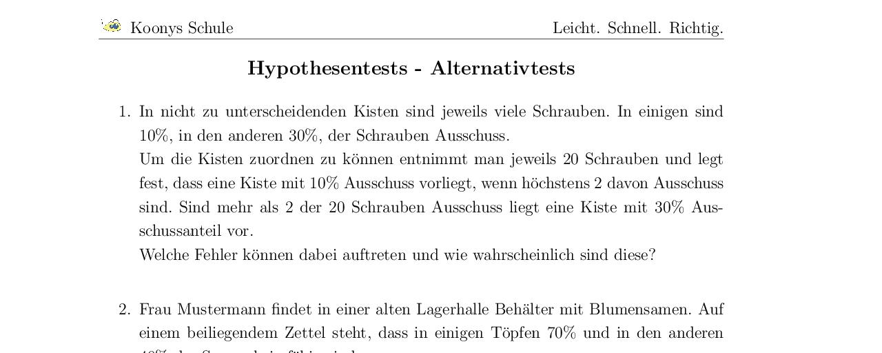 Vorschaubild des Übungsblattes Hypothesentests - Alternativtests