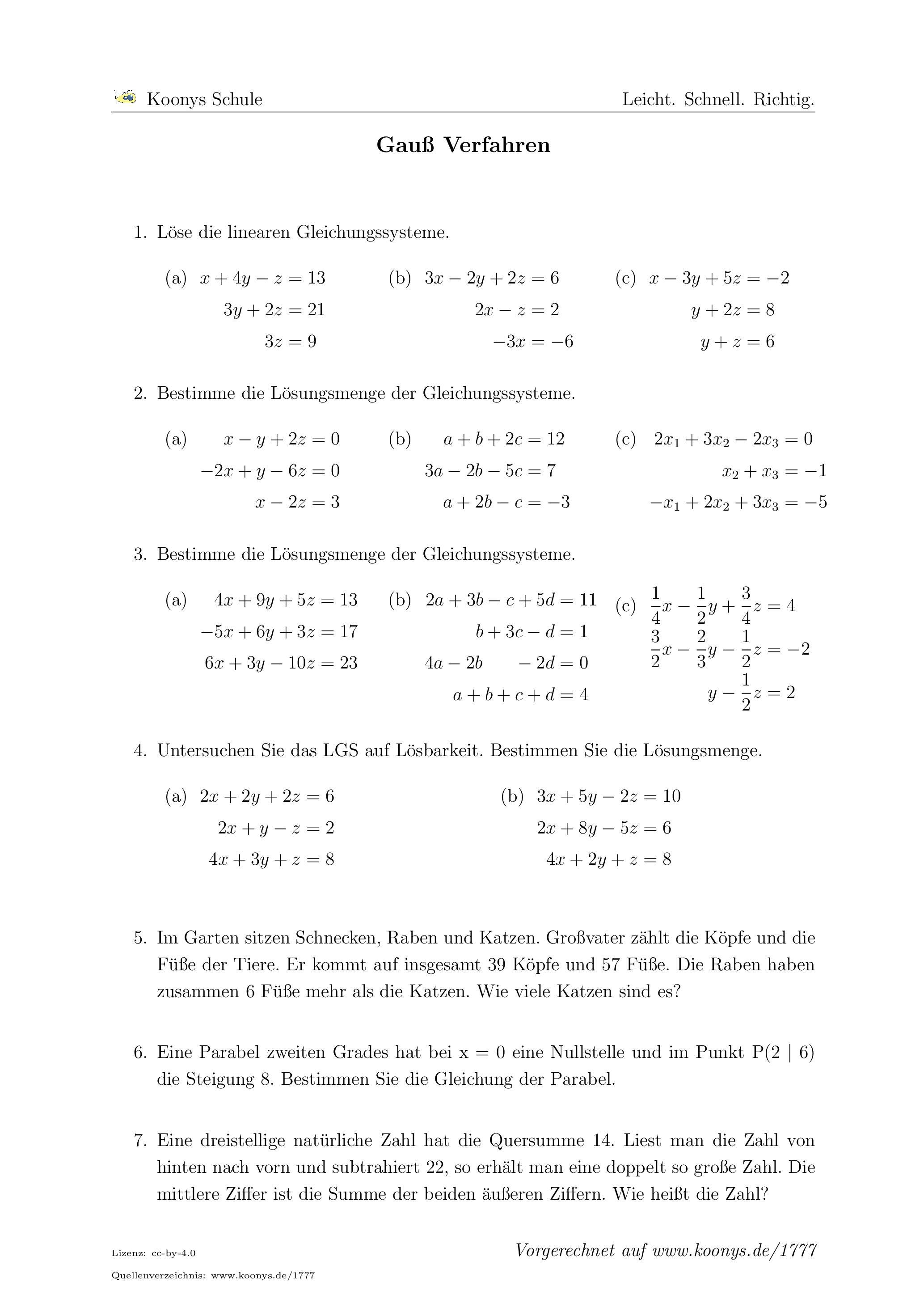 Aufgaben Gauß Verfahren mit Lösungen | Koonys Schule #1777
