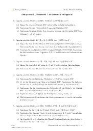 Aufgaben über Analytische Geometrie - Vermischte Aufgaben mit Erklärungen in Videos und Lösungen.