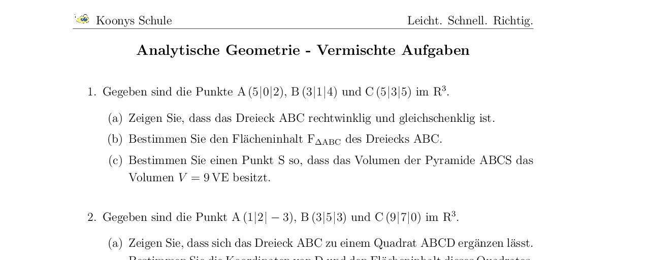 Vorschaubild des Übungsblattes Analytische Geometrie - Vermischte Aufgaben