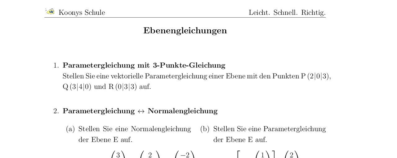 Vorschaubild des Übungsblattes Ebenengleichungen