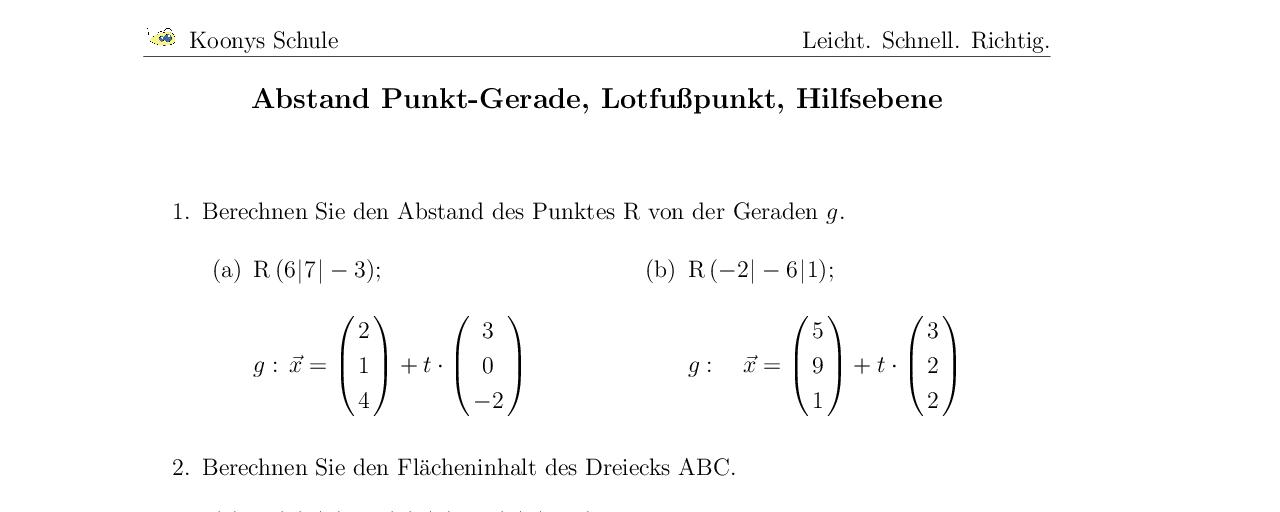Vorschaubild des Übungsblattes Abstand Punkt-Gerade, Lotfußpunkt, Hilfsebene