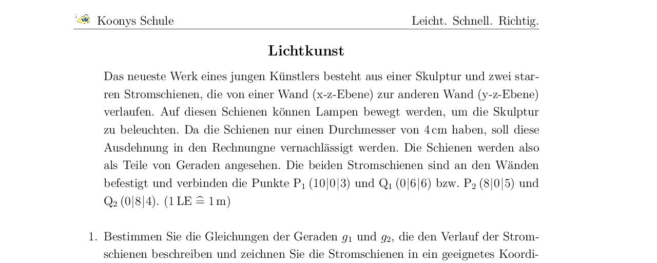 Vorschaubild des Übungsblattes Lichtkunst Abitur GK Hamburg