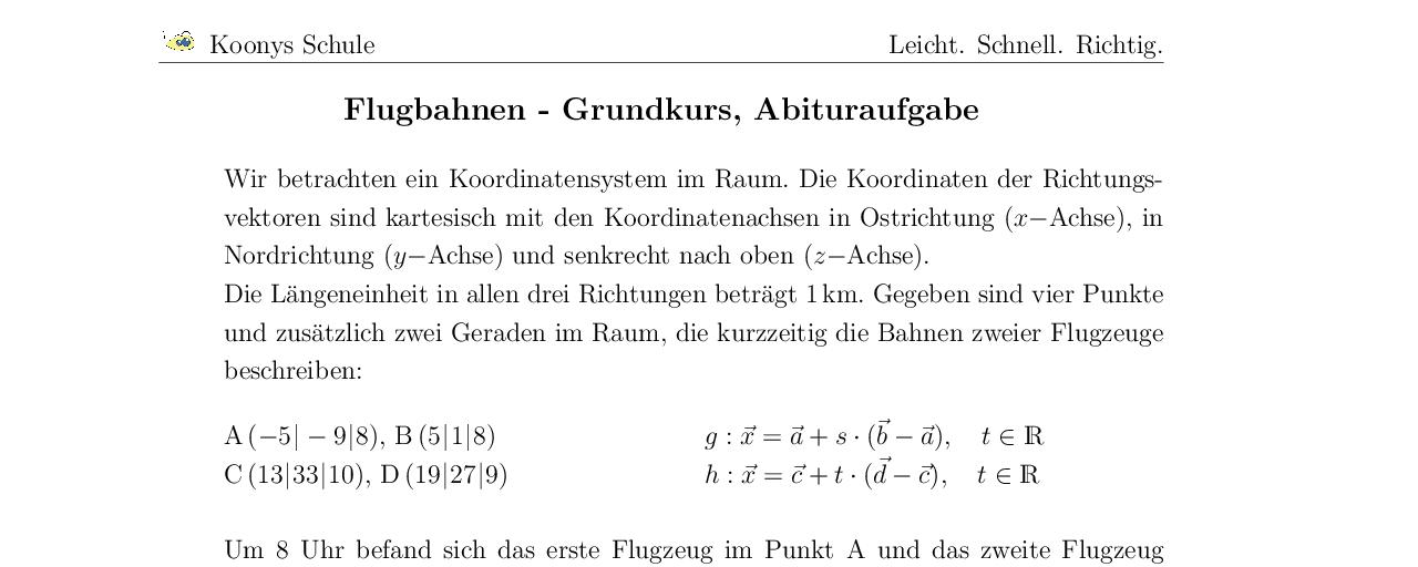 Vorschaubild des Übungsblattes Flugbahnen Abitur GK Hamburg 2008
