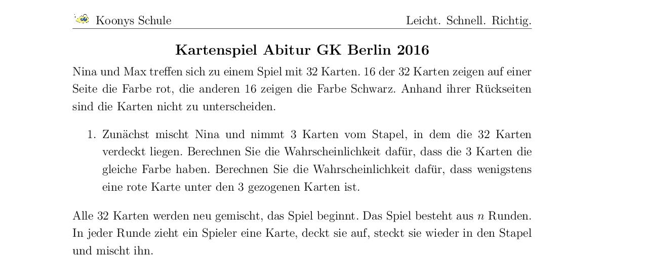 Vorschaubild des Übungsblattes Kartenspiel Abitur GK Berlin 2016