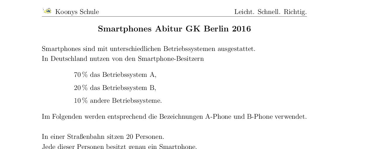 Vorschaubild des Übungsblattes Smartphones Abitur GK Berlin 2016