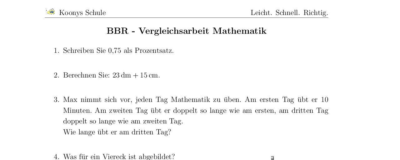 Aufgaben BBR - Vergleichsarbeit Mathematik mit Lösungen | Koonys ...