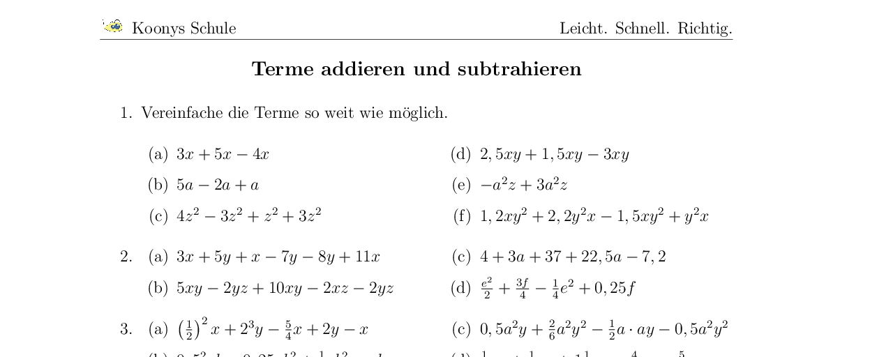 Vorschaubild des Übungsblattes Terme addieren und subtrahieren
