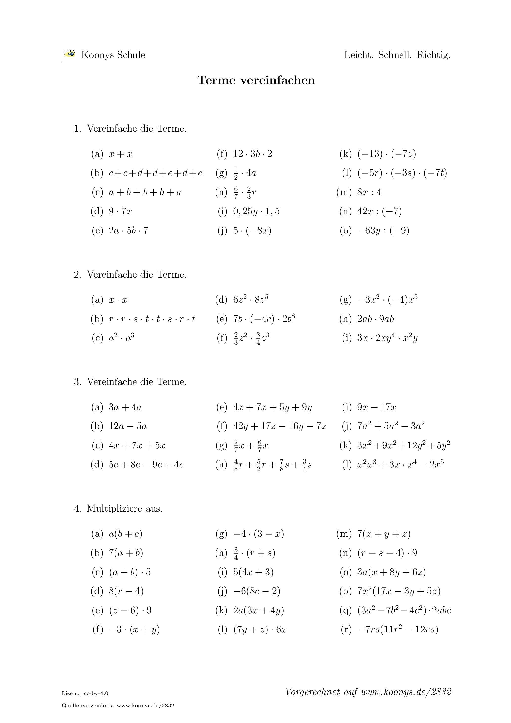 Aufgaben Terme vereinfachen mit Lösungen   Koonys Schule 20