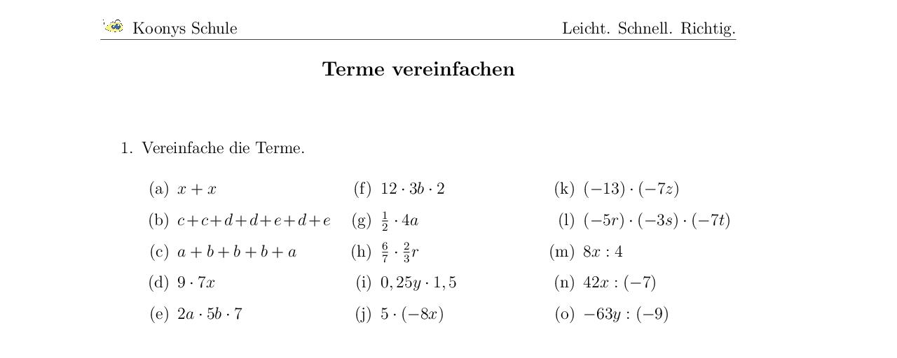 Vorschaubild des Übungsblattes Terme vereinfachen