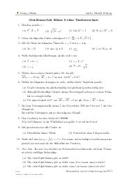 Aufgaben über Abschlussarbeit Klasse 9 ohne Taschenrechner mit Erklärungen in Videos und Lösungen.