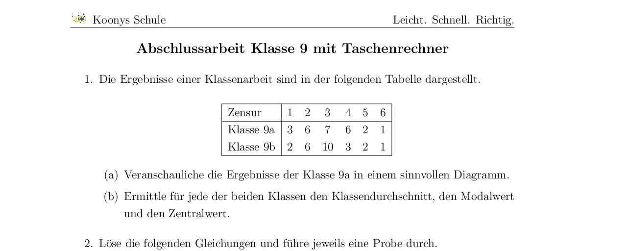 Vorschaubild des Übungsblattes Abschlussarbeit Klasse 9 mit Taschenrechner