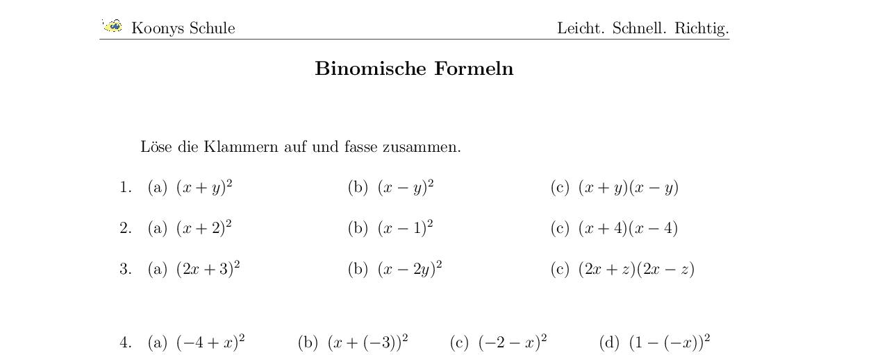 Vorschaubild des Übungsblattes Binomische Formeln