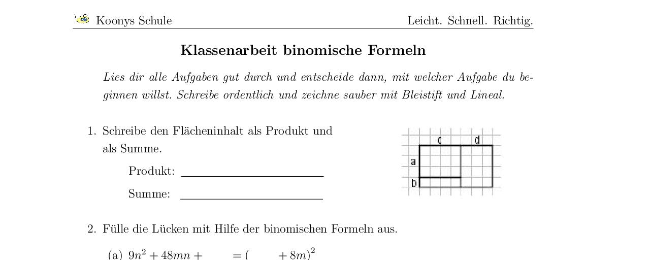 aufgaben klassenarbeit binomische formeln mit l sungen koonys schule 3132. Black Bedroom Furniture Sets. Home Design Ideas
