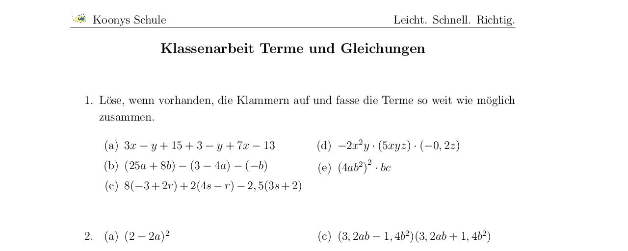 Aufgaben Klassenarbeit Terme und Gleichungen mit Lösungen | Koonys ...