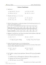 Aufgaben über Lineare Funktionen mit Erklärungen in Videos und Lösungen.