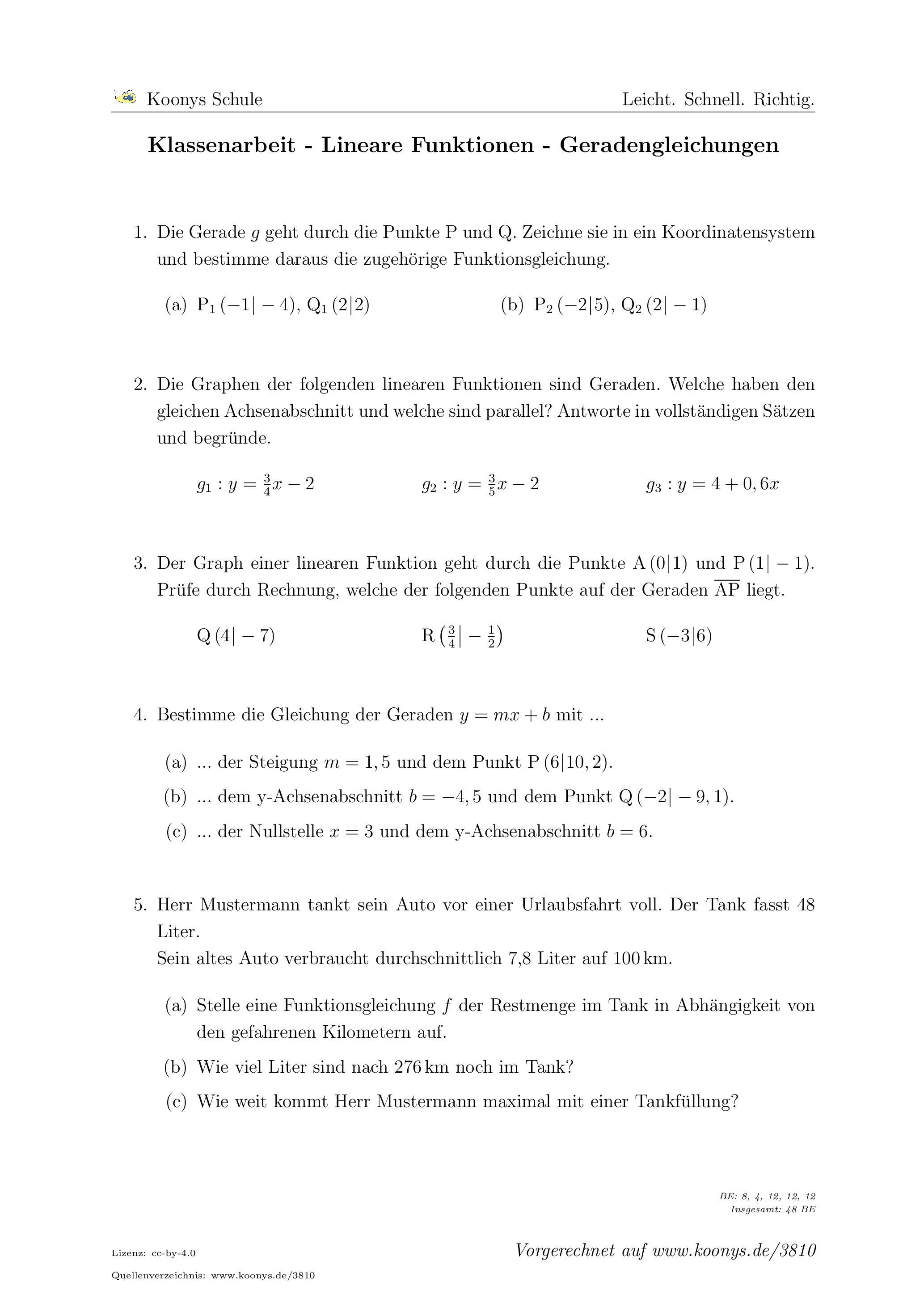 Aufgaben Klassenarbeit - Lineare Funktionen - Geradengleichungen mit ...