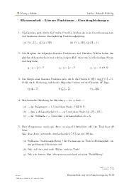Aufgaben über Klassenarbeit - Lineare Funktionen - Geradengleichungen mit Erklärungen in Videos und Lösungen.