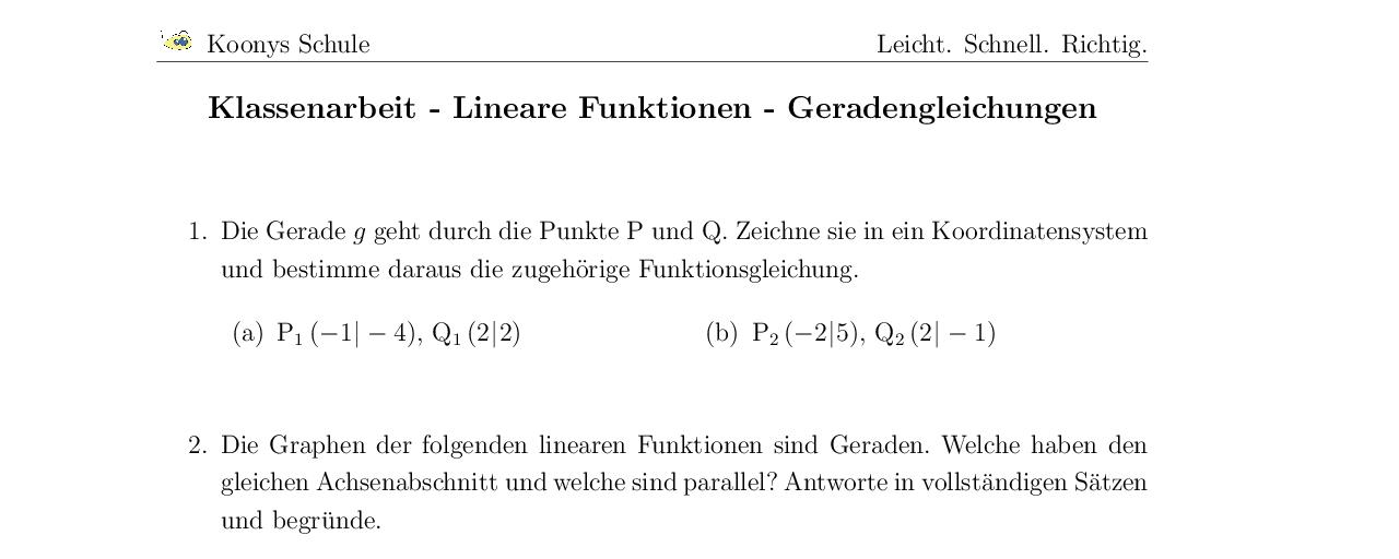 Vorschaubild des Übungsblattes Klassenarbeit - Lineare Funktionen - Geradengleichungen
