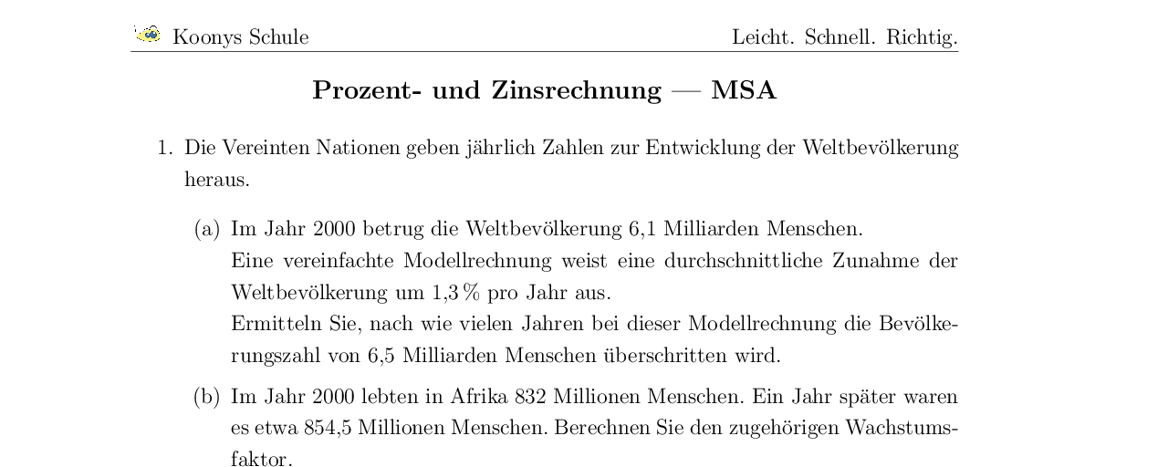 Vorschaubild des Übungsblattes Prozent- und Zinsrechnung | MSA