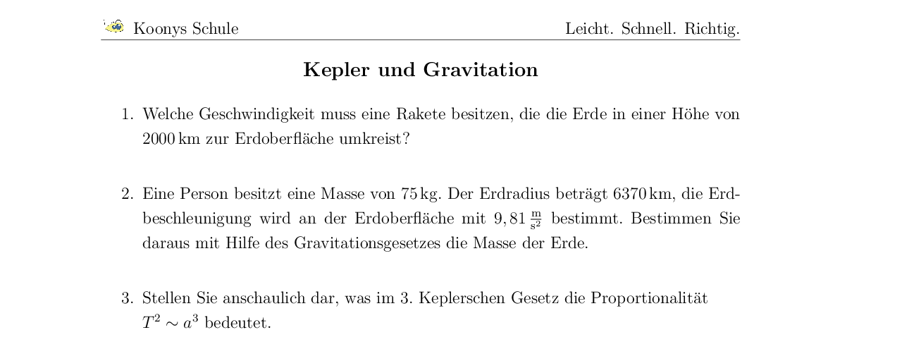 Vorschaubild des Übungsblattes Kepler und Gravitation