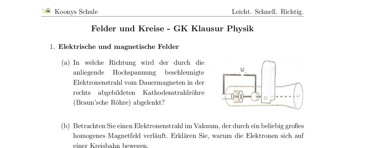 Vorschaubild des Übungsblattes Felder und Kreise - GK Klausur Physik