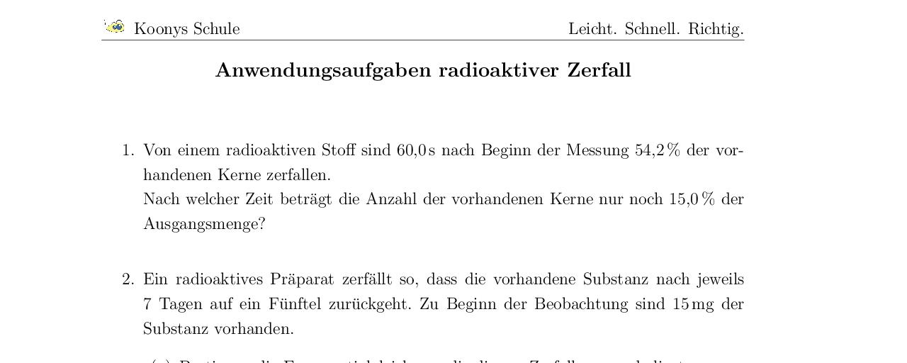 Vorschaubild des Übungsblattes Anwendungsaufgaben radioaktiver Zerfall