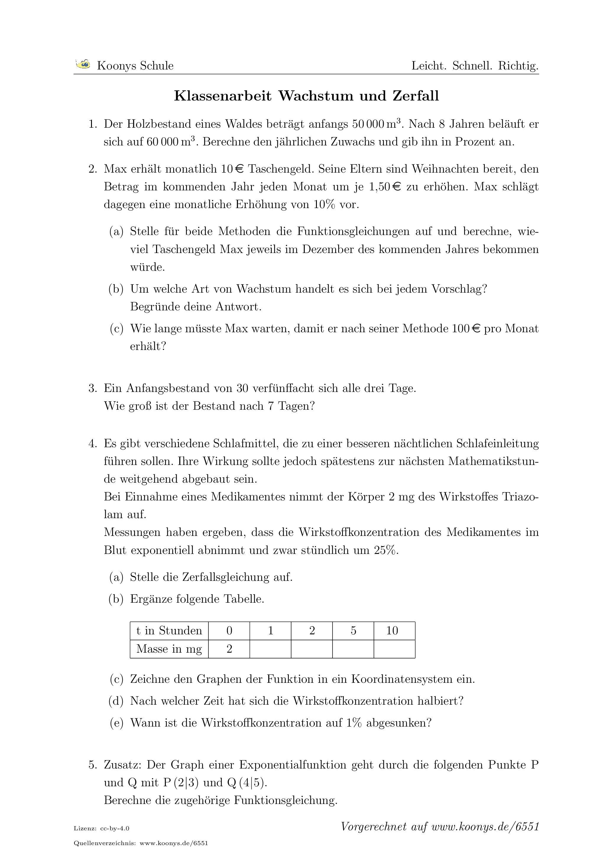 Colorful Exponentielles Wachstum Und Zerfall Arbeitsblatt Antworten ...