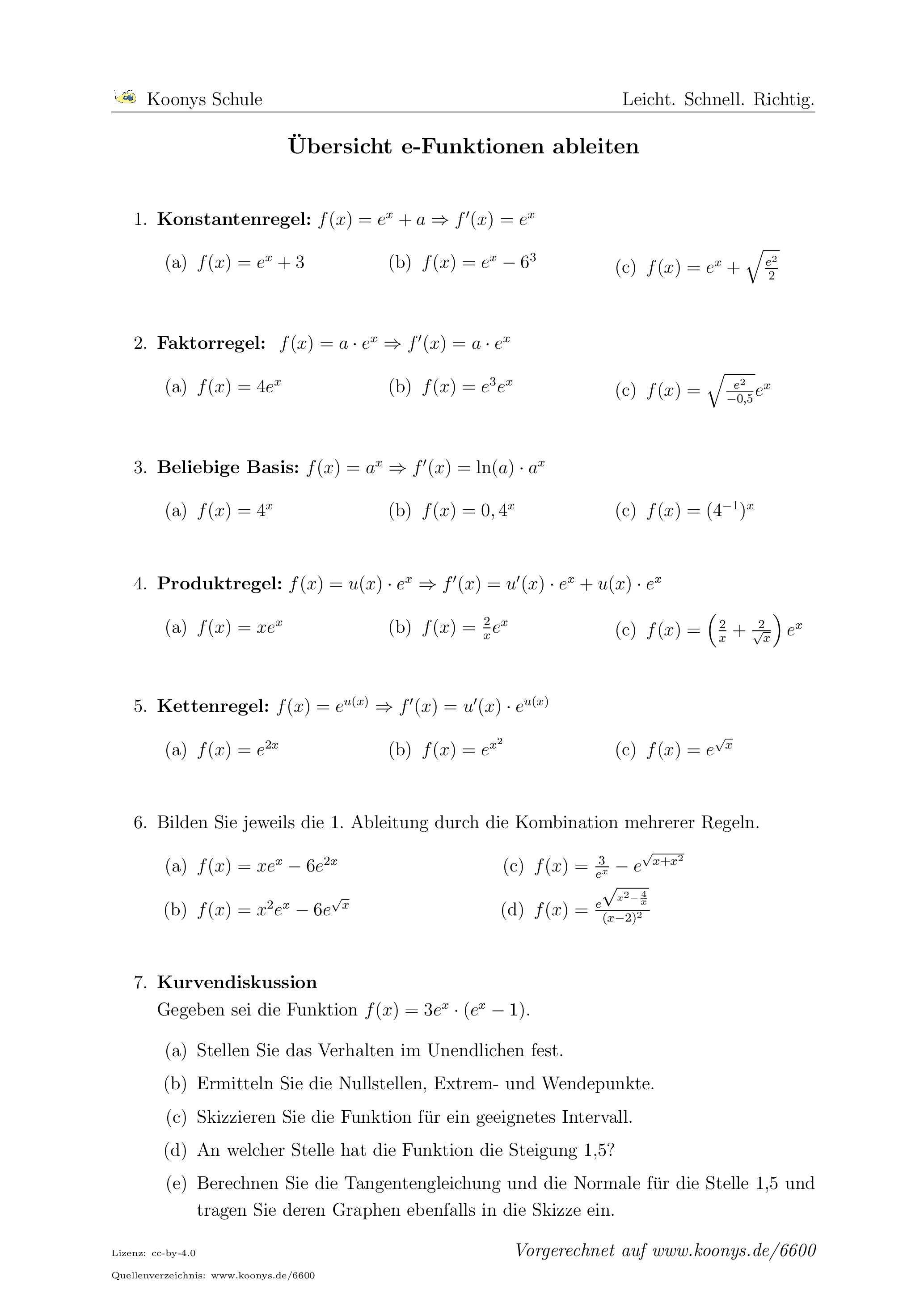Aufgaben Übersicht e-Funktionen ableiten mit Lösungen | Koonys ...