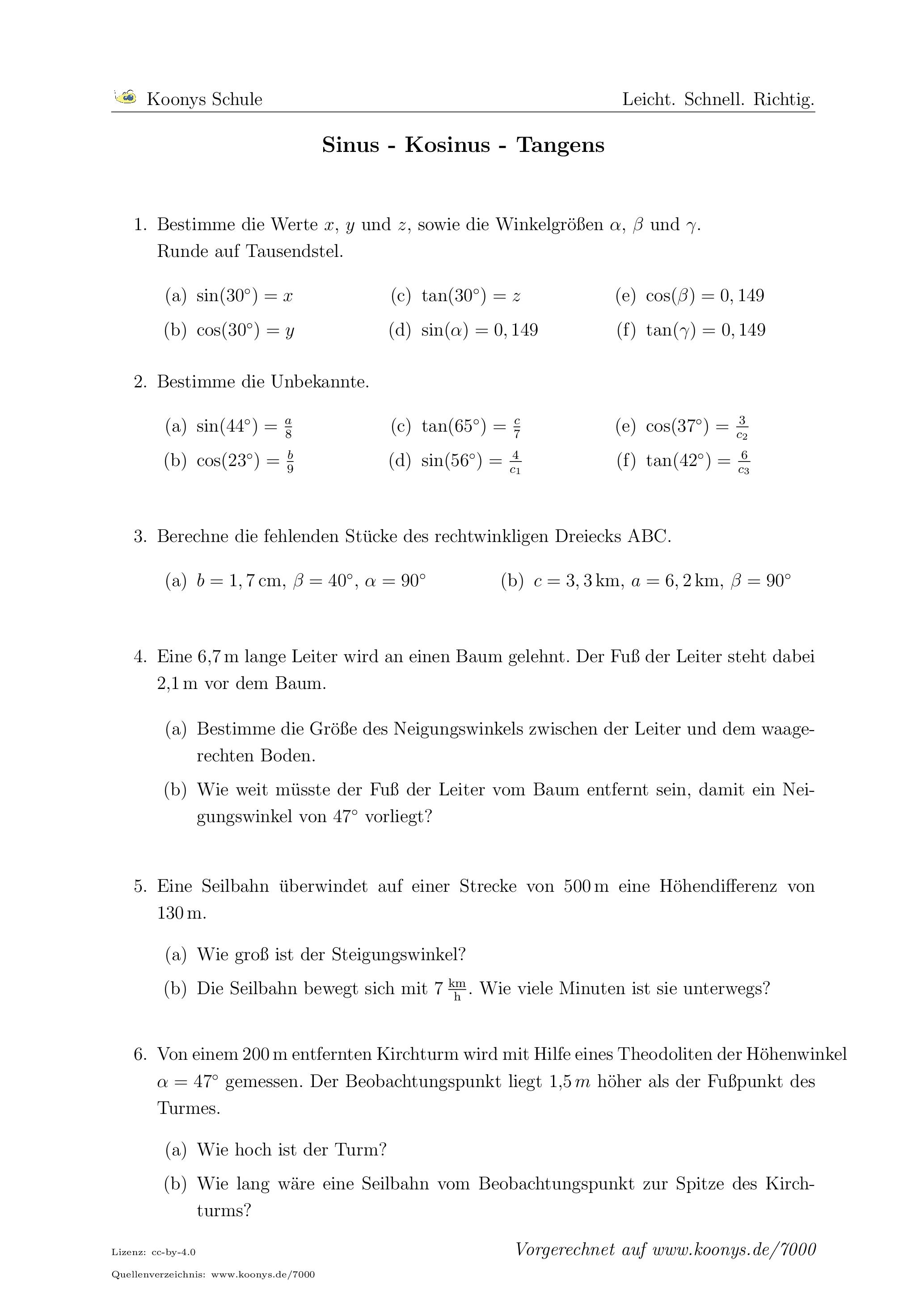 Aufgaben Sinus - Kosinus - Tangens mit Lösungen | Koonys Schule #7000