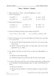 Aufgaben über Sinus - Kosinus - Tangens mit Erklärungen in Videos und Lösungen.