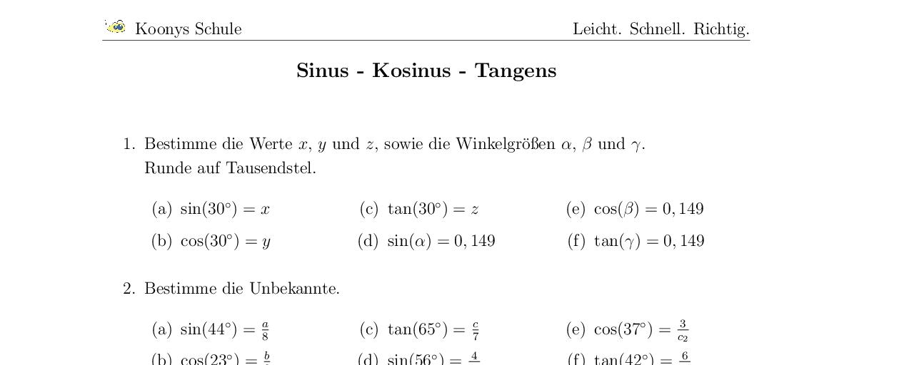 Vorschaubild des Übungsblattes Sinus - Kosinus - Tangens