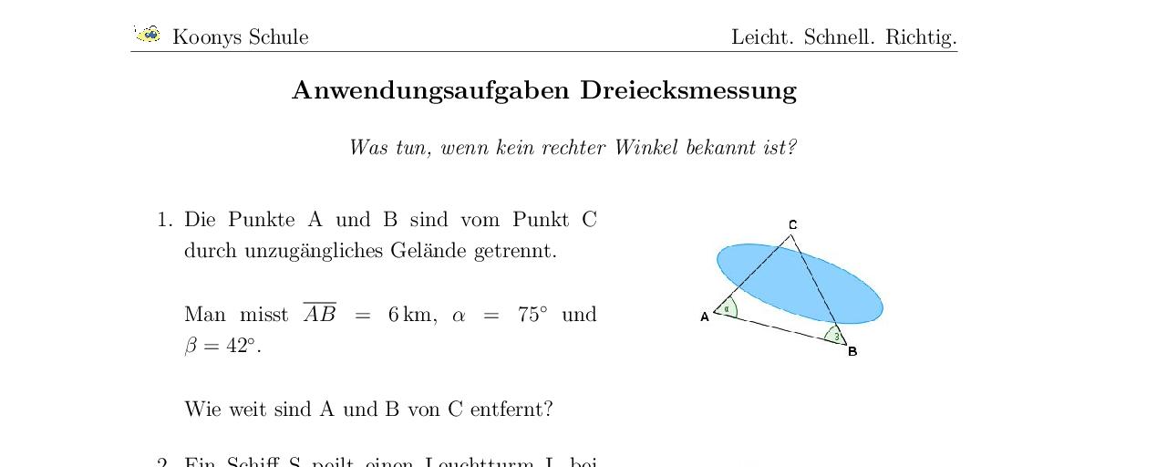 Vorschaubild des Übungsblattes Anwendungsaufgaben Dreiecksmessung