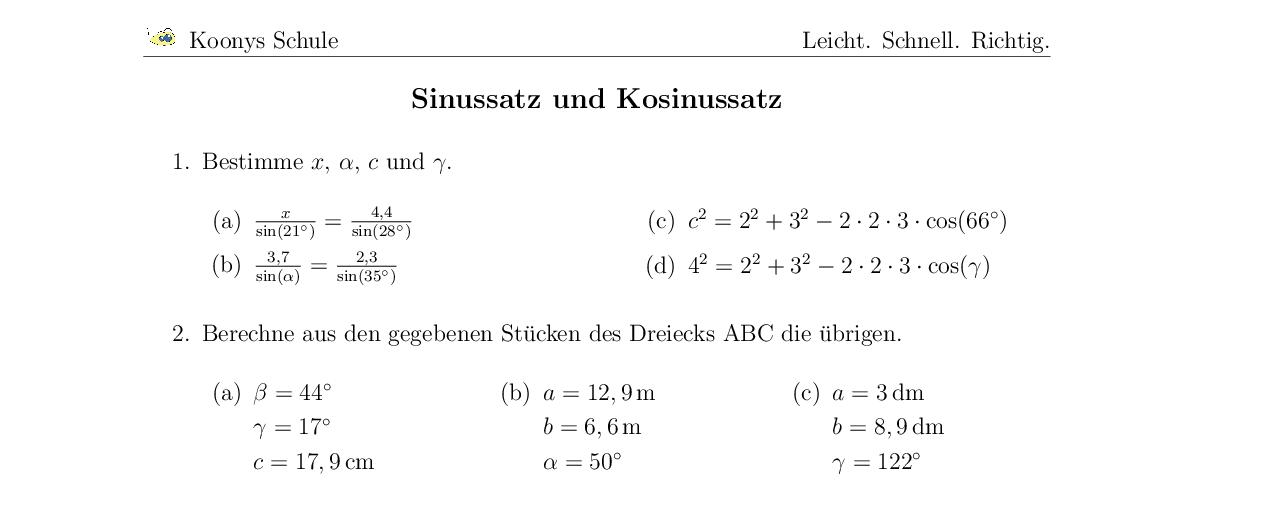 Vorschaubild des Übungsblattes Sinussatz und Kosinussatz