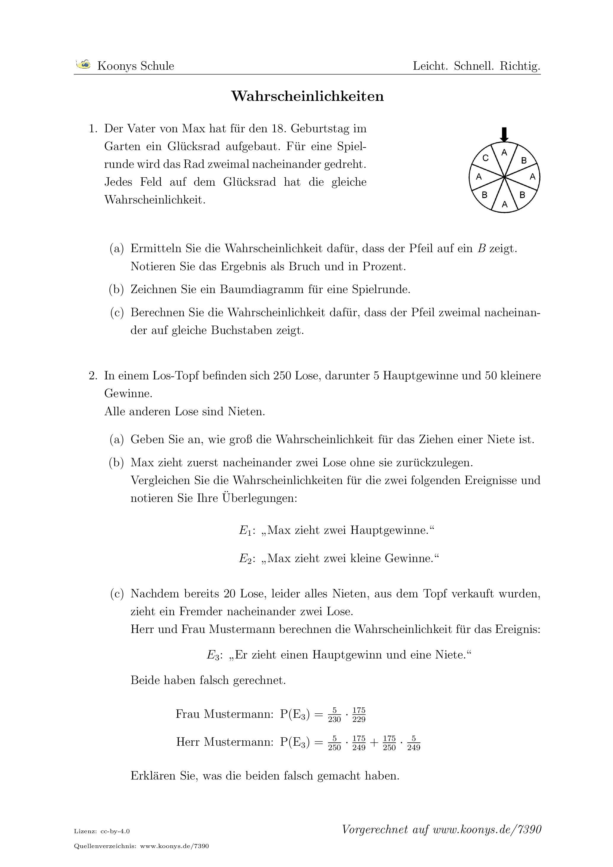 Aufgaben Wahrscheinlichkeiten mit Lösungen   Koonys Schule #7390