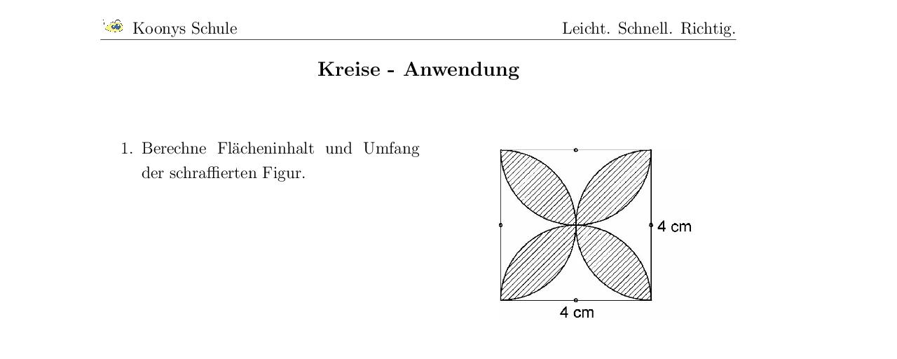 Vorschaubild des Übungsblattes Kreise - Anwendung