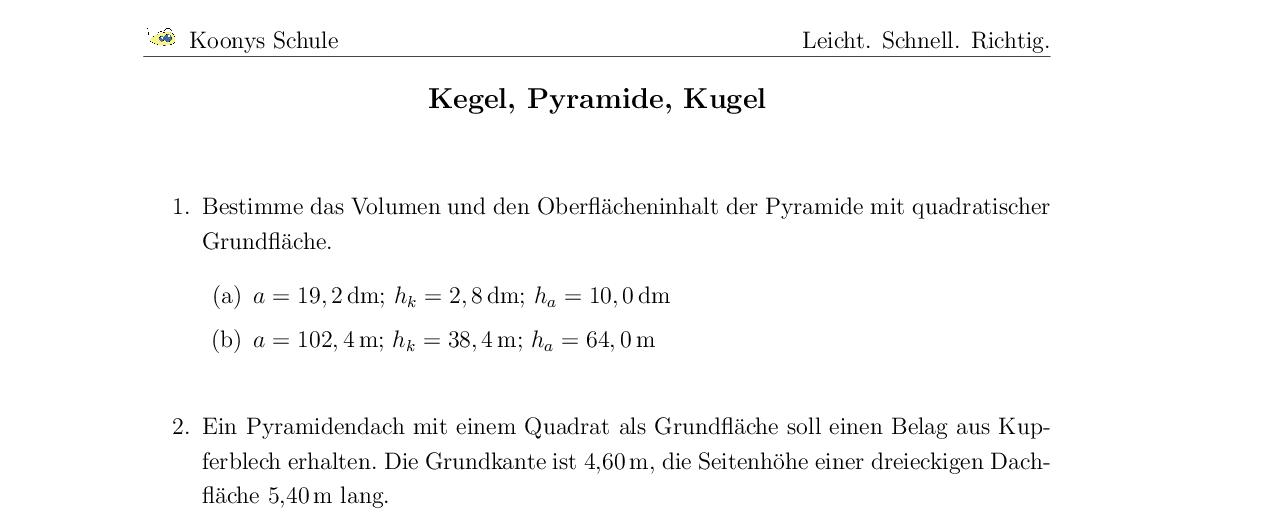 Aufgaben Kegel, Pyramide, Kugel mit Lösungen | Koonys Schule #9540