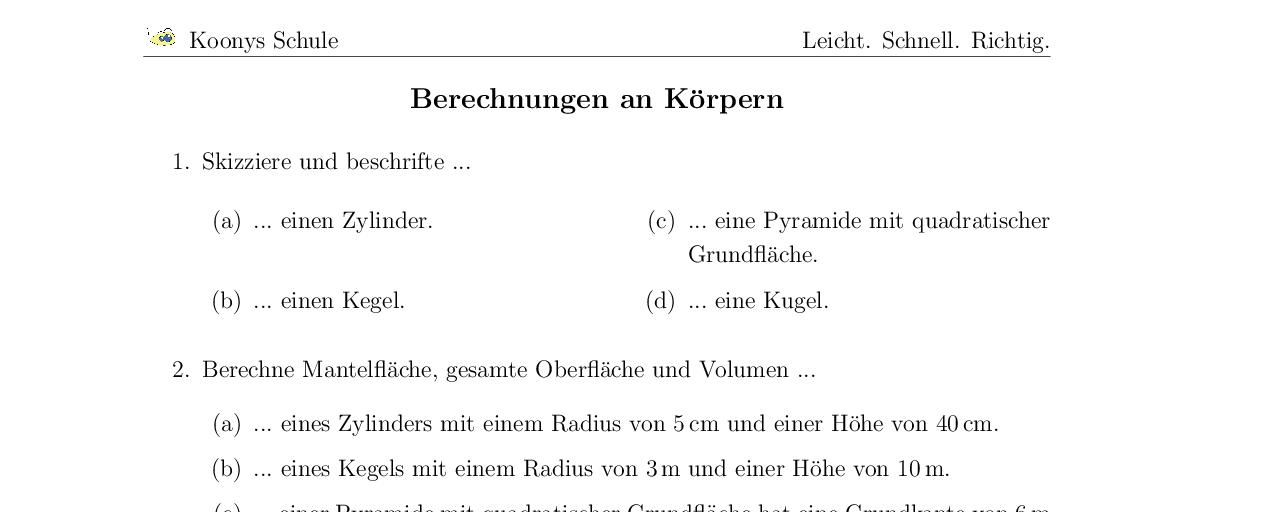 Modern Volumen Der Zylinder Arbeitsblatt Vignette - Kindergarten ...